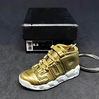 Air More Supreme Uptempo Gold Suptempo OG Sneakers Shoes 3D Keychain 1:6 Figure + Shoe Box