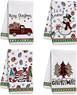 Hexagram Christmas Kitchen Towels and Dishcloths Sets of 4, Seasonal Gnomes and Snowman Decorative Winter Hand Towels for ...