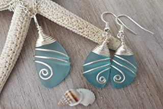 Handmade in Hawaii, Wire wrapped turquoise bay blue sea glass Necklace+Earrings Set,