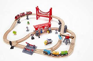 Hape Busy City Train Rail Set | Complete City Themed Wooden Rail Toy Set for Toddlers with Passenger Train, Freight Train, Station, Play Figurines, and More