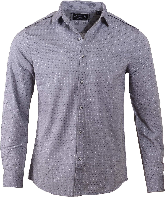 Rock Roll n Soul Men's Fashion 'Lets Dance' Skull Contrast Long Sleeve Button-Up Shirt