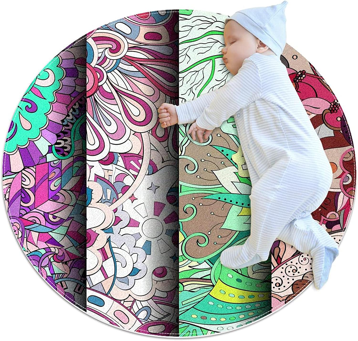 Pink Colorful Bombing free shipping Round Polyester Rug Nursery Play Cash special price Ma Kids