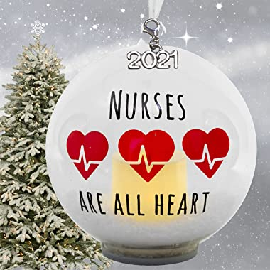 2021 Nurse Ornament – LED Ball Christmas Ornament with Lighted Votive Candle and Glitter – Hand-Painted with Nurses are All H