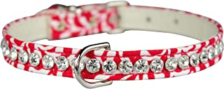 "OmniPet Majestic Plume Pattern Crystal Pet Collar, 3/8"" x 14"", Red"