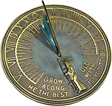 Rome RM2345 Brass Father Time Sundial with Verdigris Highlights