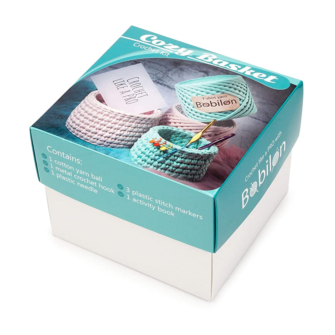 T-Shirt Yarn Fettuccini Zpagetti Set - Cozy Basket Crochet Kit - Tshirt Yarn for Crocheting - Ribbon Yarn 100% Cotton - DIY Kit with Yarn Tools - T Yarn Organic - T-Yarn Mint