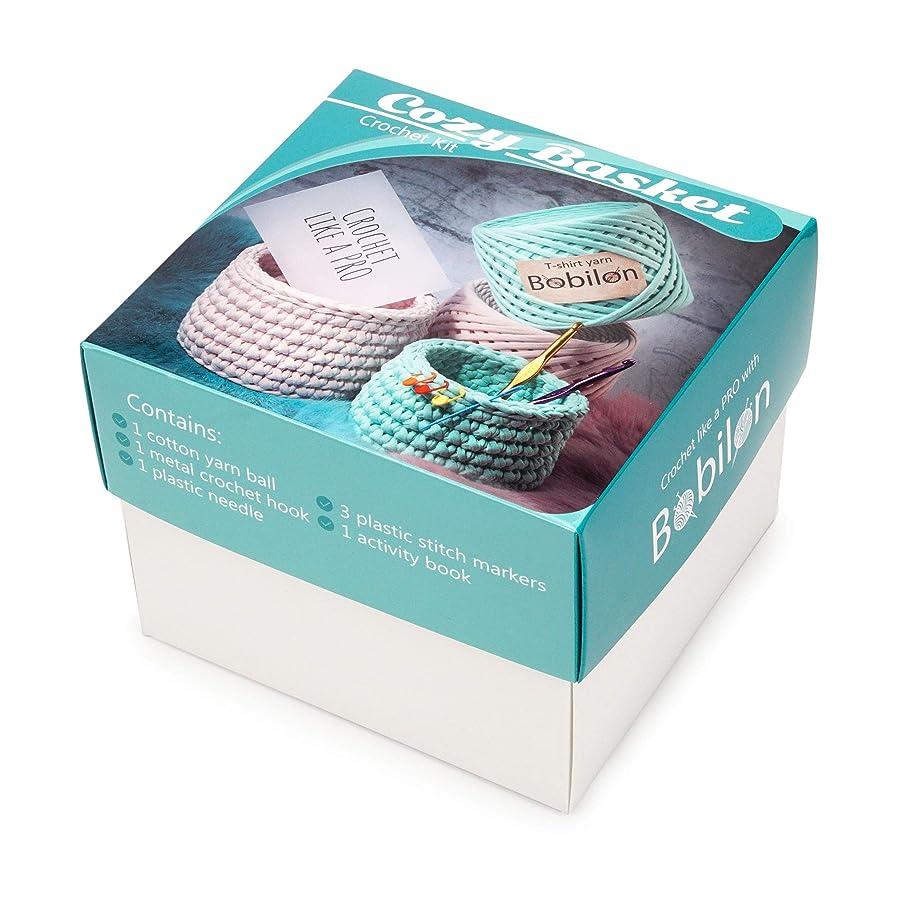 T-Shirt Yarn Fettuccini Zpagetti Set - Cozy Basket Crochet Kit - Tshirt Yarn for Crocheting - Ribbon Yarn 100% Cotton - DIY Kit with Yarn Tools - T Yarn Organic - T-Yarn Arctic