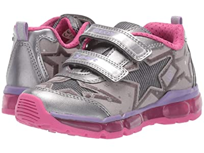 Geox Kids Jr Android 24 (Little Kid) (Silver/Fuchsia) Girls Shoes