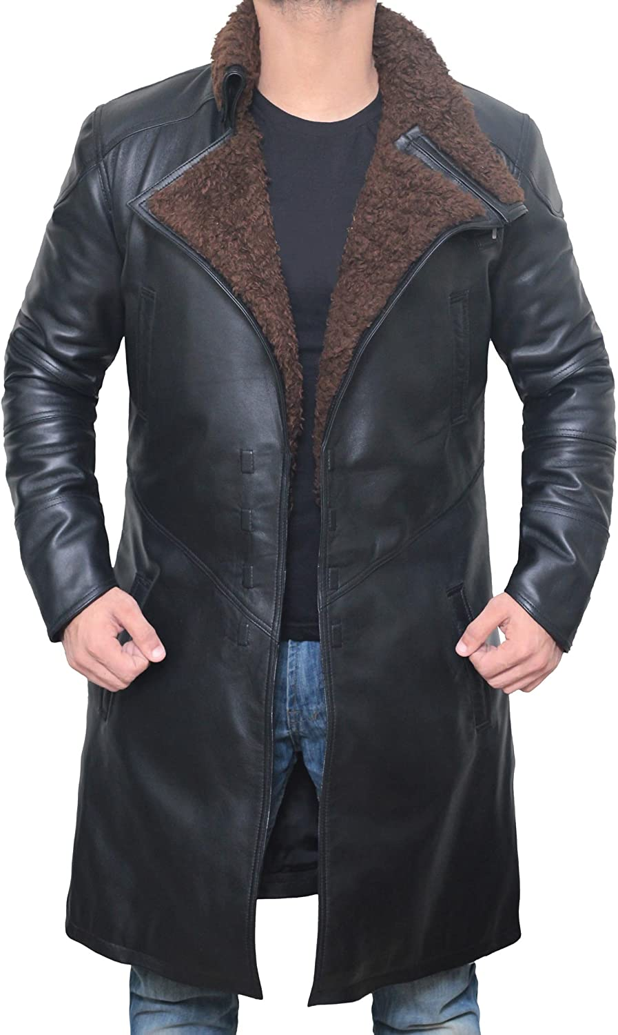 Blingsoul Black Trench Coat Men Leather Winter Same 100% quality warranty! day shipping - Shearling
