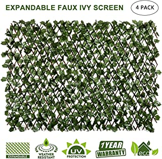 DOEWORKS Expandable Fence Privacy Screen for Balcony Patio Outdoor, Faux Ivy Fencing Panel for Backdrop Garden Backyard Home Decorations - 4PACK