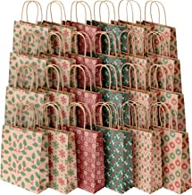Sumille Christmas Gift Bags, Set of 24 Medium Kraft Paper Gift Bags with Handle and Prints for Christmas Gifts, Wedding, Party, Business, Crafts, Goodies, Ornaments, Presents, 9x7.3x3.3 inch