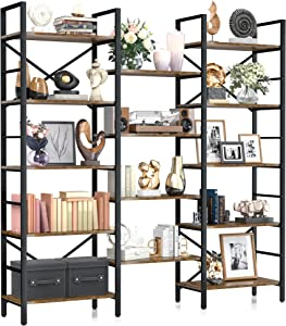 NUMENN Triple Wide 5 Tier Bookshelf, Rustic Industrial Style Book Shelves, Modern Tall Bookcase Furniture for Bedroom, Living Room and Home Office, Vintage