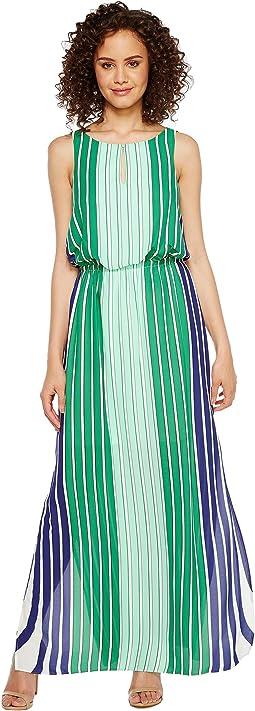 Beta Stripe Printed Georgrette Blouson Keyhole Maxi Dress