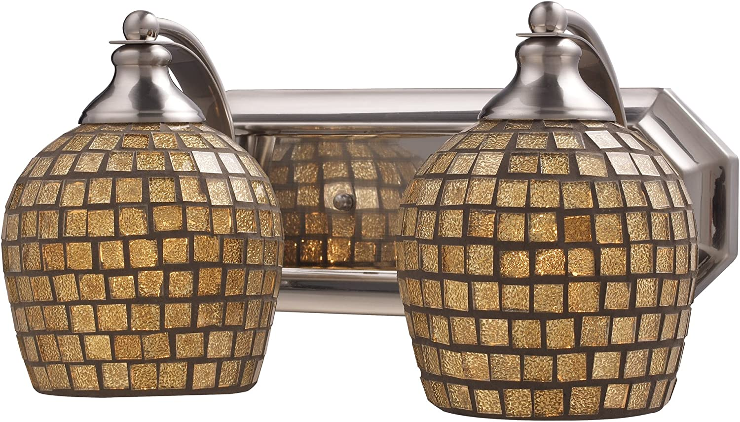 Elk 570-2N-GLD 2-Light Vanity in Satin Nickel and gold Mosaic Glass
