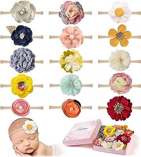 15 PCS Baby Girls Headbands Flowers Hairbands Soft Nylon Elastics Hair Bows Handmade Floral Hair Accessories for Newborn I...