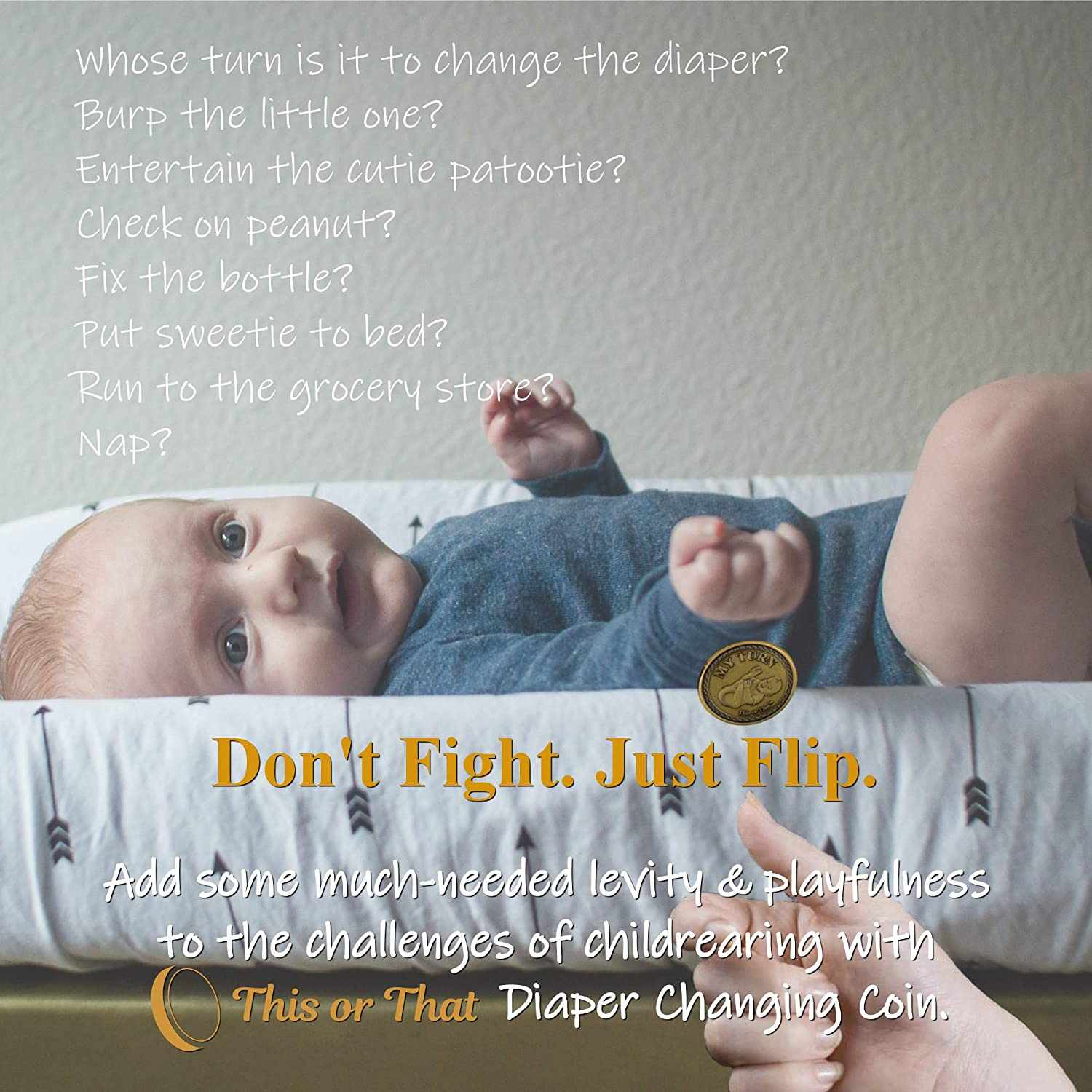 This or That Original Diaper Changing Decision Making Coin   Flip The Coin to See Who Changes Diaper – Unique for Expecting Parents or Fun Way to Celebrate Parenthood