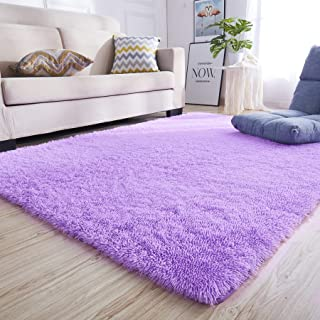 junovo Rectangle Ultra Soft Area Rugs Fluffy Carpets for Bedroom Living Room Shaggy Floor Rug Home Decor Mats, 4 x 5.3ft, Purple