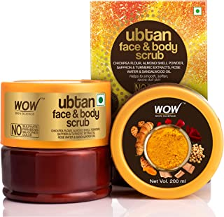 WOW Skin Science Ubtan Face & Body Scrub with Chickpea Flour, Almond Shell Powder, Safron & Turmeric Extracts, Rose Water & Sandalwood Oil - No Sulphate, Parabens, Silicones & Color - 200 mL