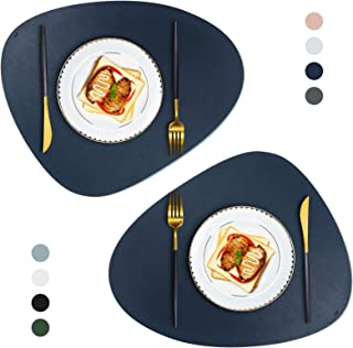 JTX Placemats Round Leather for Dinner Table Mats Heat-Resistant Non-Slip Washable Insulation Coffee Mats Kitchen Place Ma...