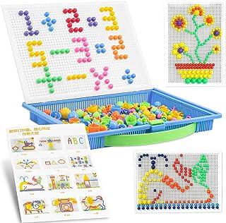 Jeux de Mosaïque 300 Pcs,Mosaique Puzzle,Clous de Champignon,Jouet Educatif Bloc de Construction Briques Jigsaw,Fille & En...
