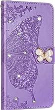 NSSTAR Beschermhoes voor Samsung Galaxy A40, leer, beschermhoes, glitter, strass, vlinder, bloemen, met standfunctie, violet