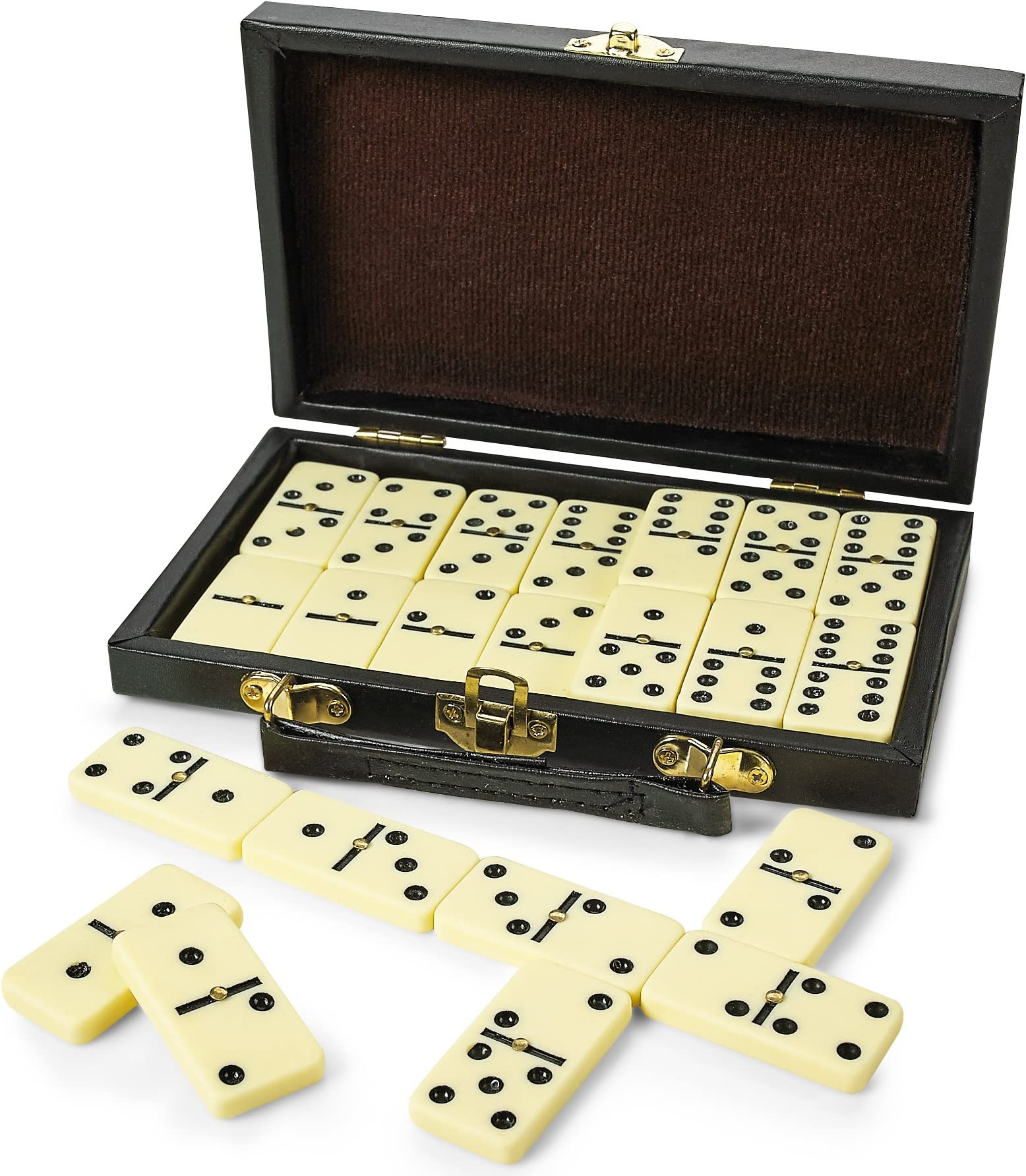 Dominoes Game Double Six 6 Professional Set 28 Piece Domino Tiles in Wooden Case