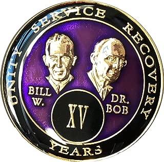15 year AA Medallion Purple Tri-Plate Founders Bill & Bob Chip XV