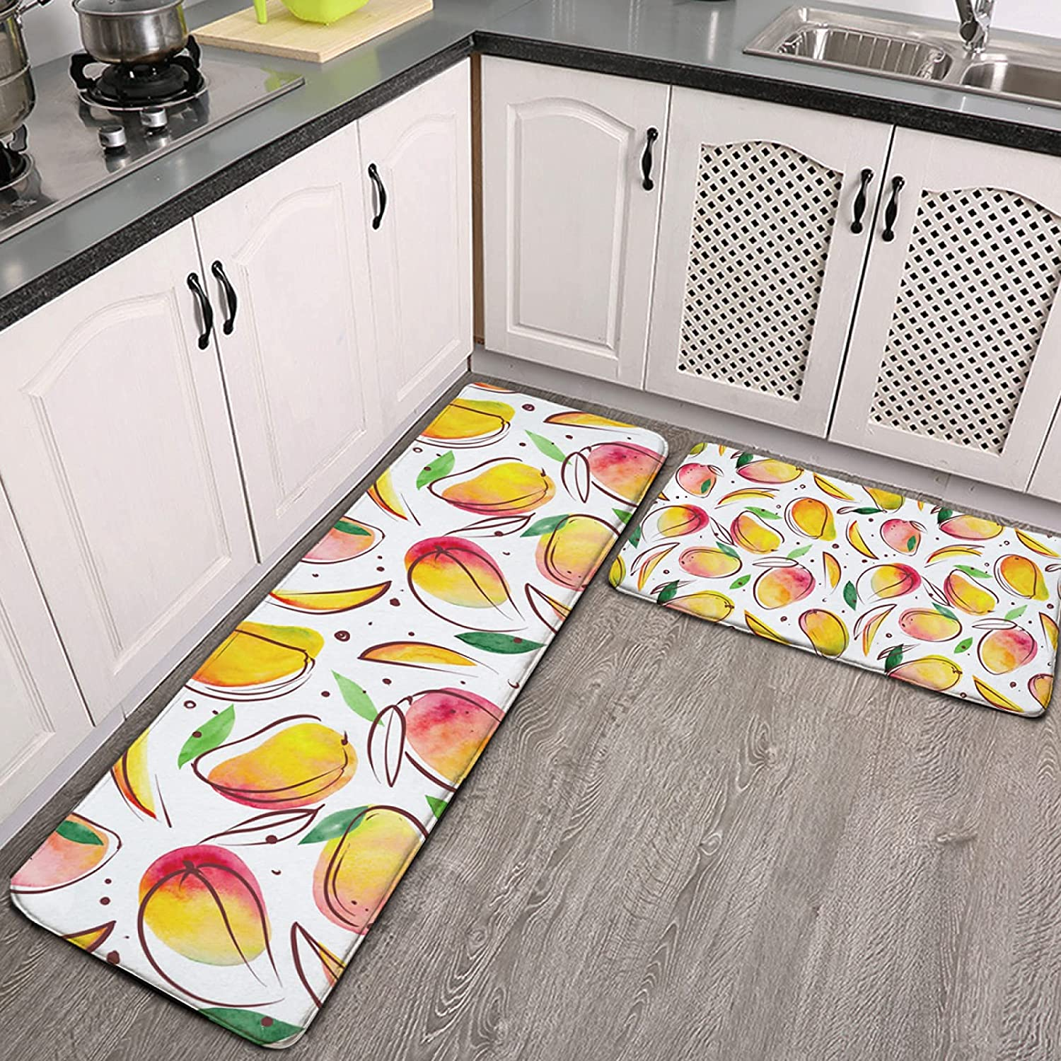 Kitchen Rugs and Mats Set 2 On Fruits Leaves Brand Cheap Sale Venue Piece Whi Max 51% OFF Mango