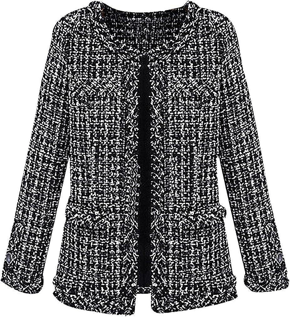 BLady Women's Black & White Slim Raw Edges 1 Button Tartan Print Tweed Jacket