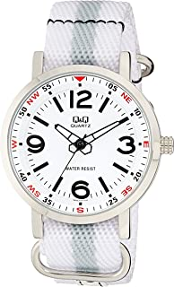 Q&Q Men's White Dial Nylon Band Watch - Q892J314Y