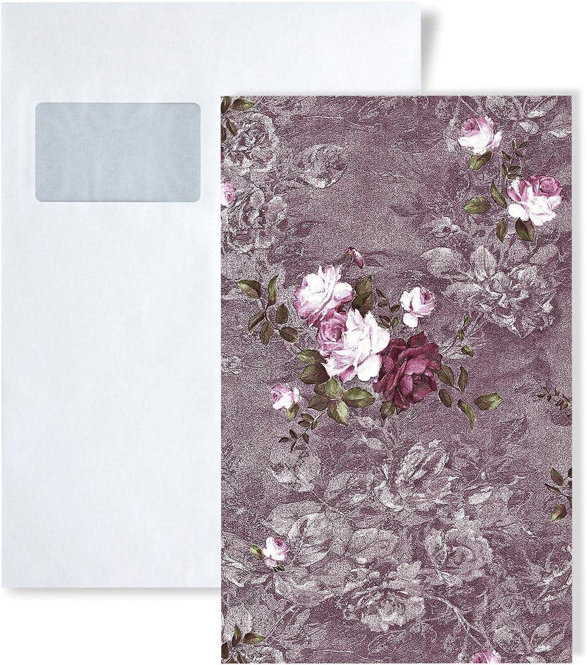 1 PIEZA DE MUESTRA S-9045-25 EDEM STATUS Papel pintado flores romántico | MUESTRA de Papel pintado en tamaño aprox DIN A4