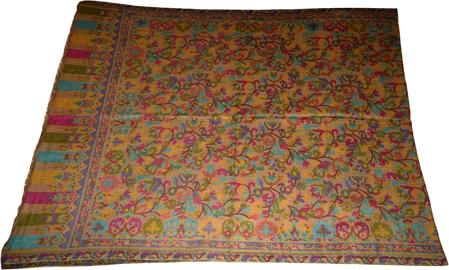 100% Pure AUTHENTIC Handmade Pashmina Wool Scarf,Multicolor Floral KANI work. X1692