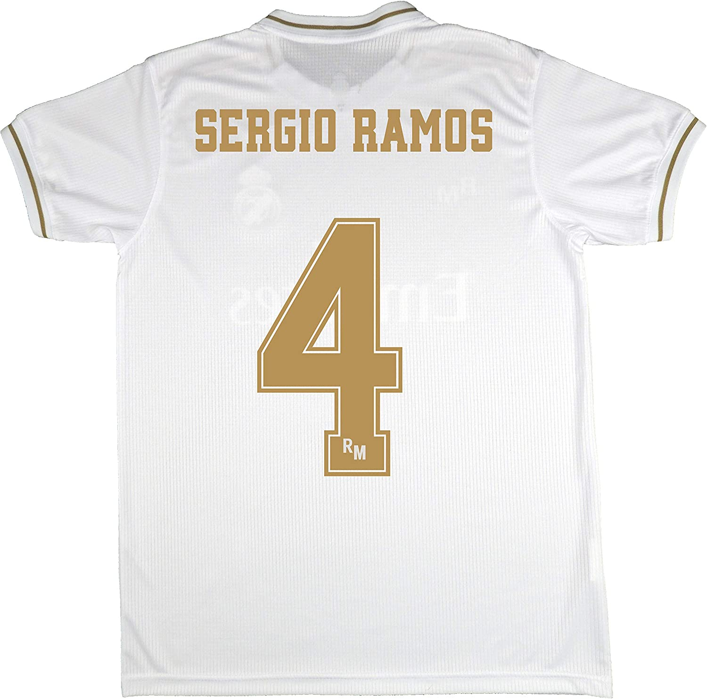 Real Madrid Camiseta Primera Equipación Infantil Sergio Ramos Producto Oficial Licenciado Temporada 2019-2020 Color Blanco