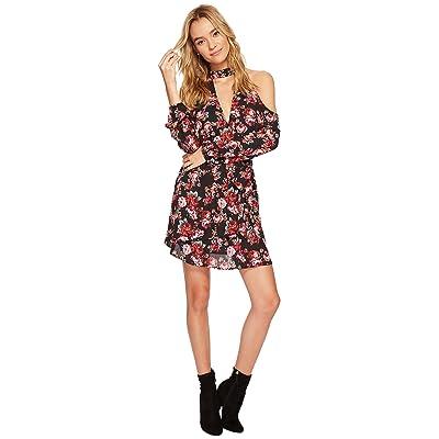 Jack by BB Dakota Bruno Enchanted Rose Printed Crepe de Chine Cold-Shoulder Wrap Dress (Black) Women