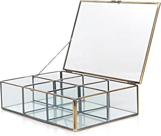 MyGift Decorative Clear Glass & Brass Metal Frame 6 Compartment Jewelry Shadow Box/Counter Top Display Case