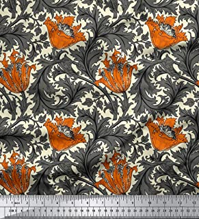 Soimoi Floral Printed Decorative Velvet Fabric 60 Inches Wide 2-Way Stretch Material by The Yard 180 GSM - Rust Orange