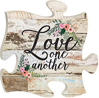 P. Graham Dunn Love One Another Crackled Paint 12 x 12 Wood Wall Art Puzzle Piece Plaque