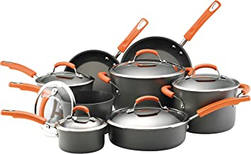Rachael Ray Hard-Anodized Nonstick 14-Piece Cookware Set, Gray with Orange Handles