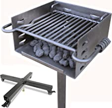 Titan Single Post Park Style Grill Charcoal Grill w/Rolling Base BBQ Outdoor