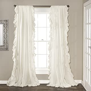 """Lush Decor White Reyna Window Panel Curtain Set for Living, Dining Room, Bedroom (Pair), 108"""" x 54"""", 108"""