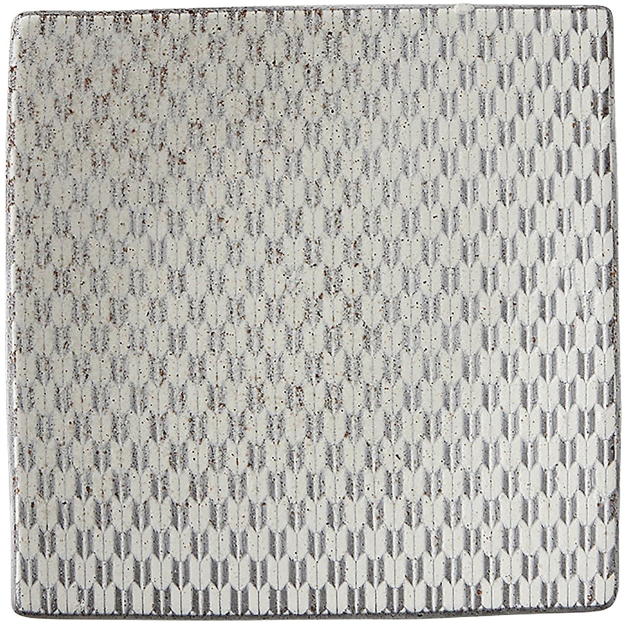 健康的牛形容詞光洋陶器 古代粉引き 正角皿 19.5cm 矢絣 57662064