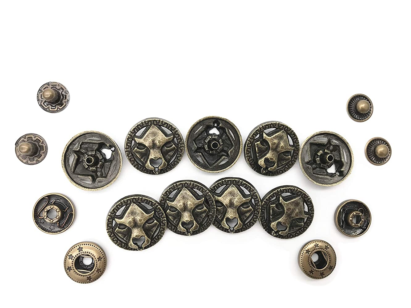 10 Set Bronze Vintage Antique Metal Snap Button Fastener, Bear Pattern Buttons, for Leather Craft DIY Overall Jacket, with Caps Sockets Studs jeddijqxr834038