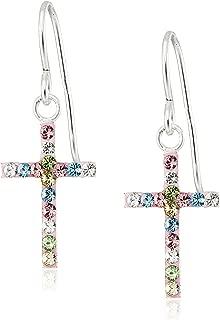 Hallmark Jewelry Girls Sterling Silver Rainbow Crystal Cross Drop Earrings
