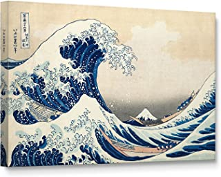 Niwo Art (TM - The Great Wave Off Kanagawa, by Katsushika Hokusai Reproduction - Giclee Wall Art for Home Decor, Gallery Wrapped, Stretched, Framed Ready to Hang (18