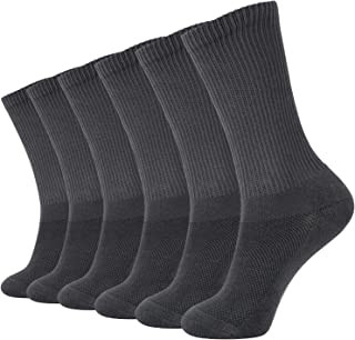 +MD 6 Pack Soft Mens and Womens Bamboo Crew Socks Smell Resistant Cushioned Dress Casual Socks