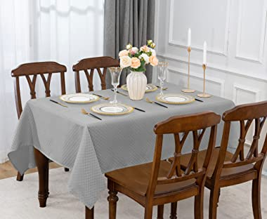 Jacquard Rectangle Table Cloth Oil-Proof Spill-Proof Wrinkle Resistant Tablecloths, Washable Polyester Fabric Heavy Weight Ta