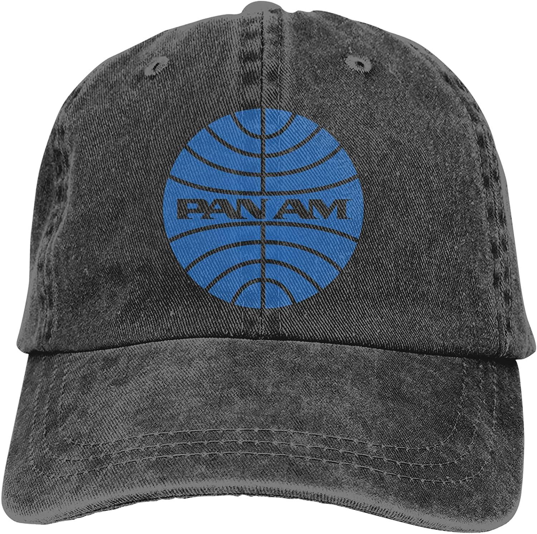 TRIOEPU Pan Am Unisex Camping Vintage Jeans Baseball Cap Classic Cotton Dad Hat Adjustable Plain Cap Black