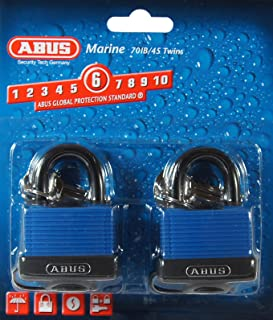 ABUS 70/45 All Weather Solid Brass Padlock Keyed Alike - Stainless Steel Shackle - 2 Pack