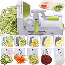 Brieftons 10-Blade Spiralizer: Strongest-and-Heaviest Vegetable Spiral Slicer, Best Veggie Pasta Spaghetti Maker for Low C...