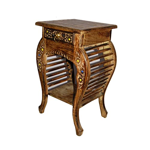 Kraftee Solid Beautiful Wood Handmade Handicraft Living Room Side Table